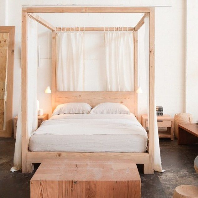Mark Tuckey: Simple 4 Poster bed. Design by Louella Tuckey. Wood Canopy ...