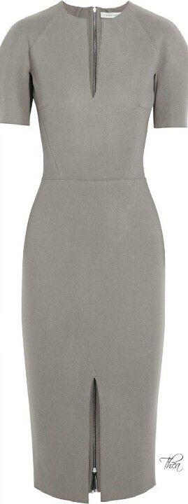 Clean lines great cut great fit grey pencil dress zipper back a wardrobe staple piece