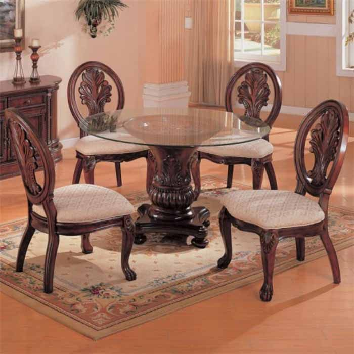 Coaster Tabitha Traditional Round Dining Table With Glass Top In Cherry Finish