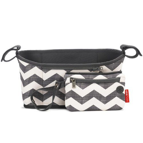 Skip Hop Grab and Go Attachable Neoprene Stroller Organizer and Cup Holder with Detachable Wristlet Universal Fit Grey / White Chevron