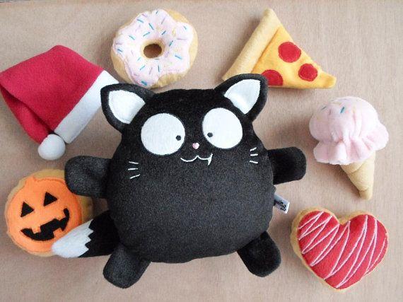 Black Cat Boy Custom Plush Toy gift anniversary kid Decor Cute plushies stuffed nursery Birthday animal baby heart birth heart guyuminos