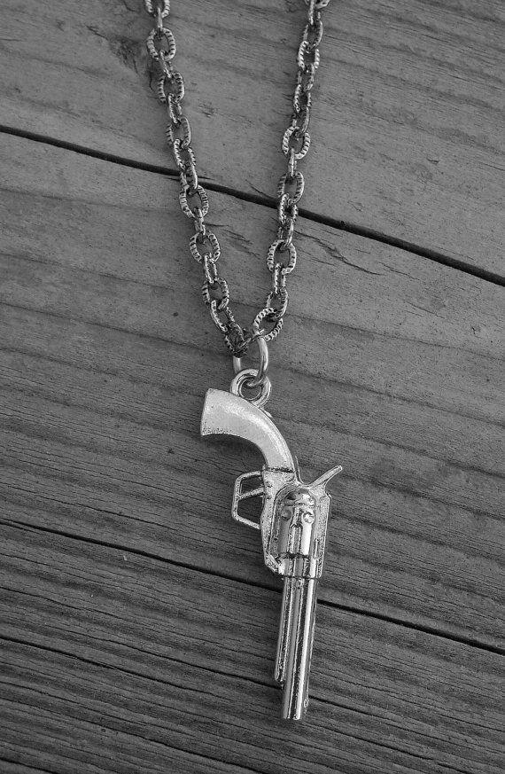 Silver Gun Necklace Gun Jewelry Western Pistol Shotgun Revolver Handgun Punk Rock n Roll Rocker Rock and Roll Heavy Metal Country Cowgirl