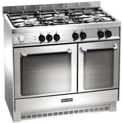 baumatic bcg925ss twin cavity 90cm gas range cooker stainless steel