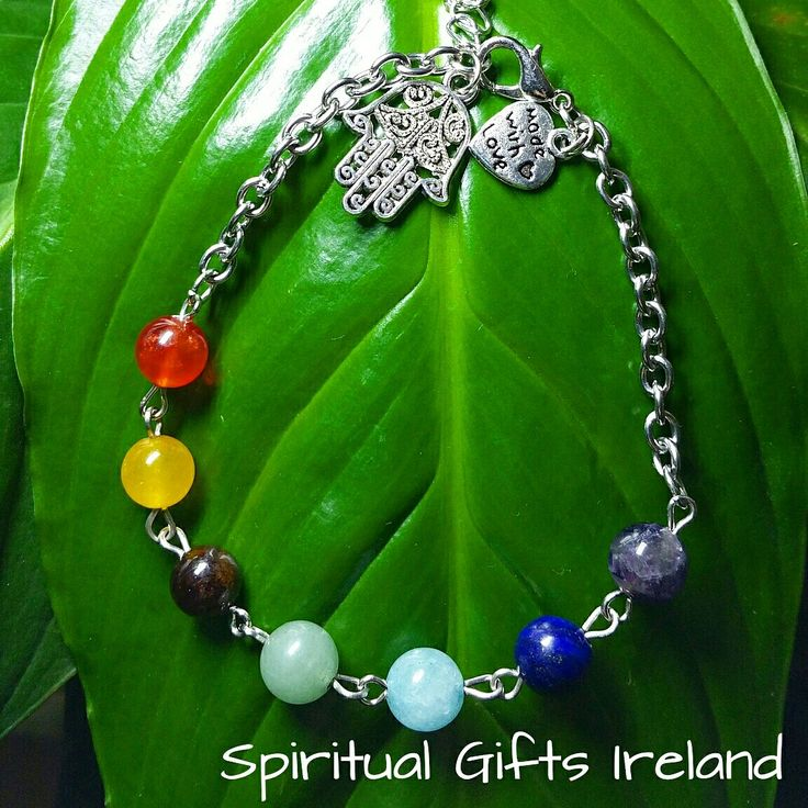 This bracelet is handmade with love and designed to balance the seven chakras.  Each bead represents one of the seven energy centres - crown, brow, throat, heart, solar plexus, sacral and base.  Wearing this piece promotes awareness of your energy centres thus encouraging healing and vitality.  The Hamsa or Reiki Hand is a selfless symbolism protecting the wearer against evil while sending love and light back to the universe.  Use our Chakra bracelet as a fashion accessory or as a prayer…