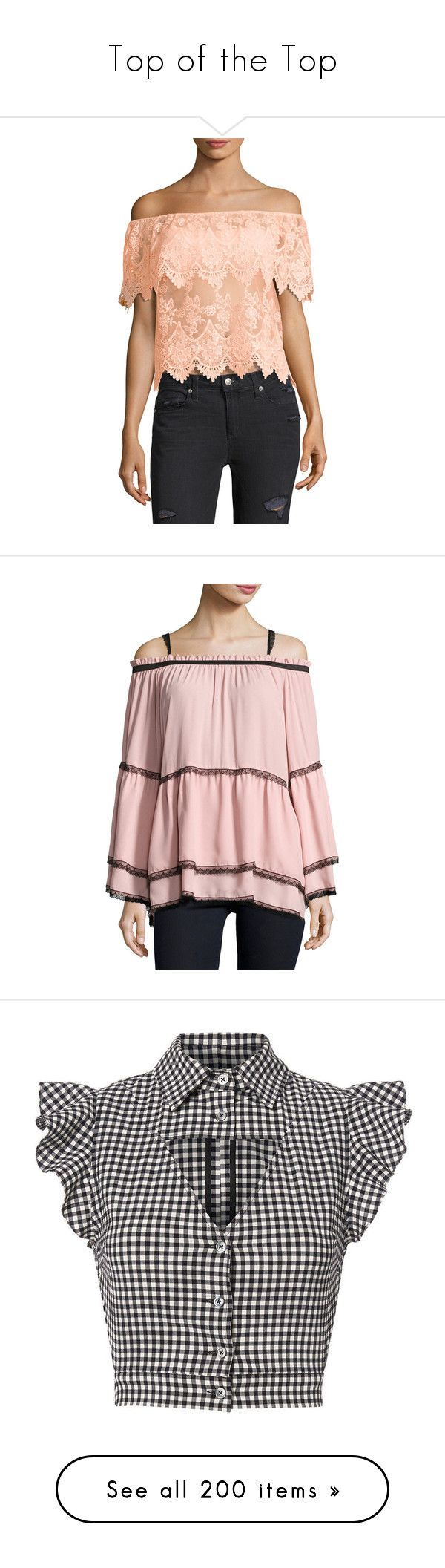 """""""Top of the Top"""" by faeryrain ❤ liked on Polyvore featuring tops, blouses, pink, off-shoulder tops, red blouse, open back blouse, pink lace blouse, red off the shoulder top, pink lace top and long sleeve lace top"""