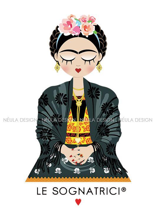 Frida Corazon Feliz - Le Sognatrici - T-shirt - tazza - mug - Sardegna - abito tradizionale - illustrazione