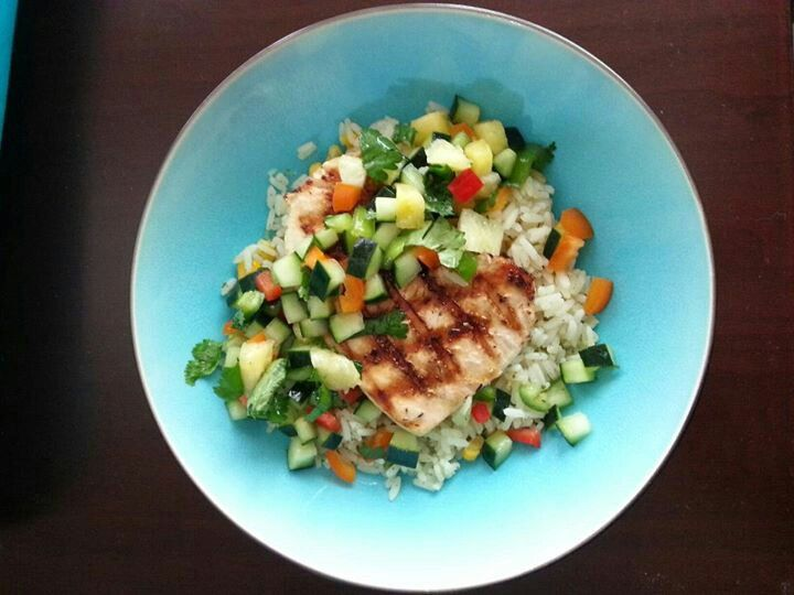 Dinner Blackend tilapia with cilantro lime rice and mango cucumber pico