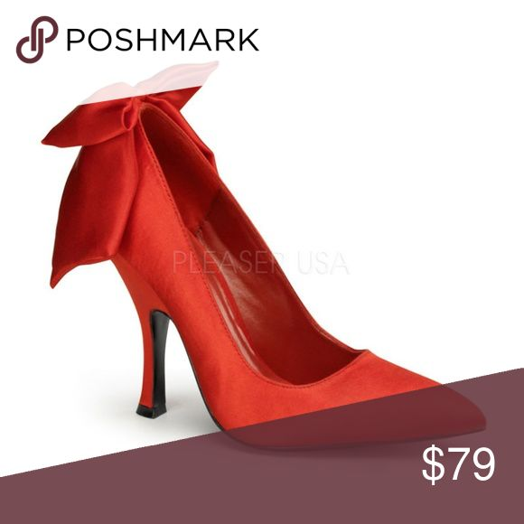 """Pointed Toe Back Bow Pin Up Shoes High Heels Pointed Toe Back Bow Pin Up Shoes High Heels BOMBSHELL-03 4 1/2"""" Heel Shoes Heels"""