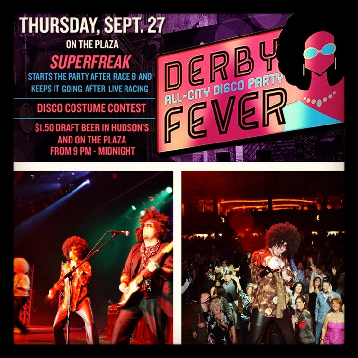 SAVE THE DATE: THURSDAY, 9/27 DERBY FEVER ALL-CITY PARTY!! Live Music by Superfreak and a Disco Fever costume contest. Draft beer on the plaza and in Henry Hudson's from 9pm-Midnight. Everyone is welcome and admission is FREE! http://www.remingtonpark.com/DerbyFever/