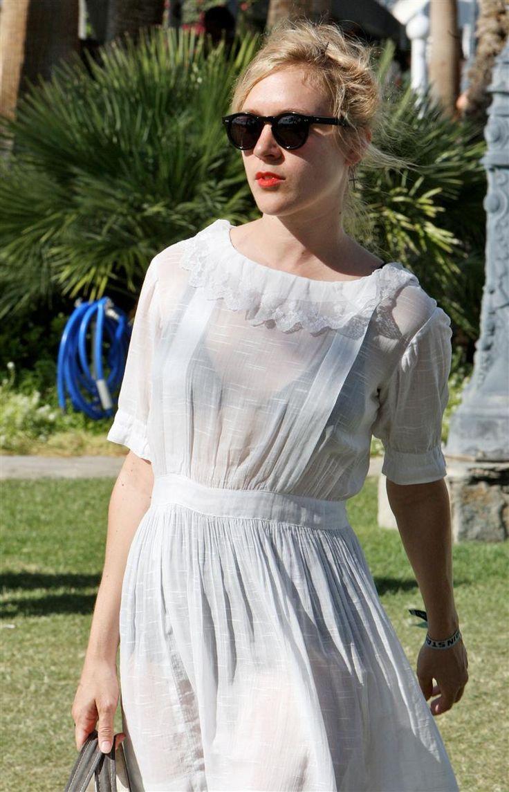 Chloe Sevigny wearing a white see through dress at the Coachella Music Festival 2009 - Day 3 Indio, California - 19.04.09