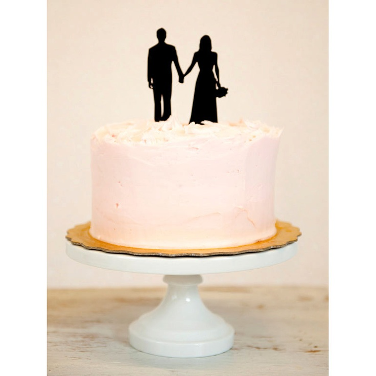 Custom Silhouette Wedding Cake Topper in Acrylic made from your photos by Simply Silhouettes. $60.00, via Etsy.