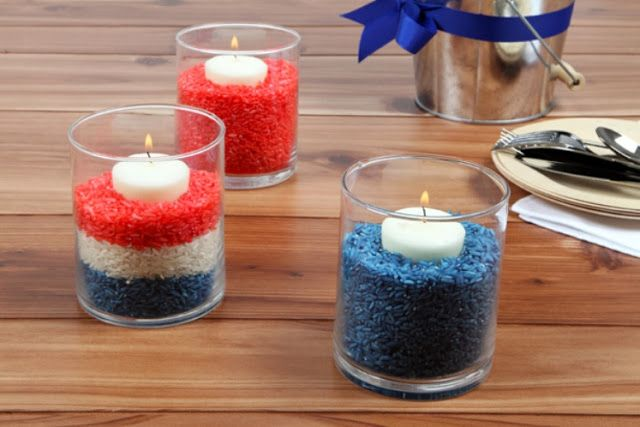 Colored rice. For eagle court of honor centerpieces.....Great idea!