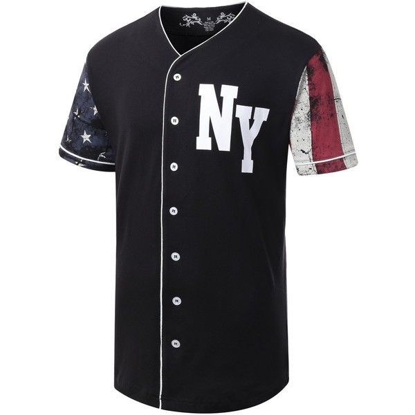 URBANCREWS Mens Hipster Hip Hop Button-Down Baseball Jersey Short... ($25) ❤ liked on Polyvore featuring men's fashion, men's clothing, men's shirts and men's casual shirts