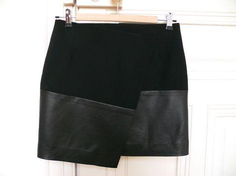 Jupe asymetrique portefeuille avec tuto simili cuir, comme celle repérée sur naf naf, à faire en version robe