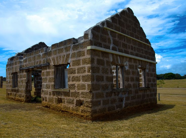 Roofless prison building on St Helena