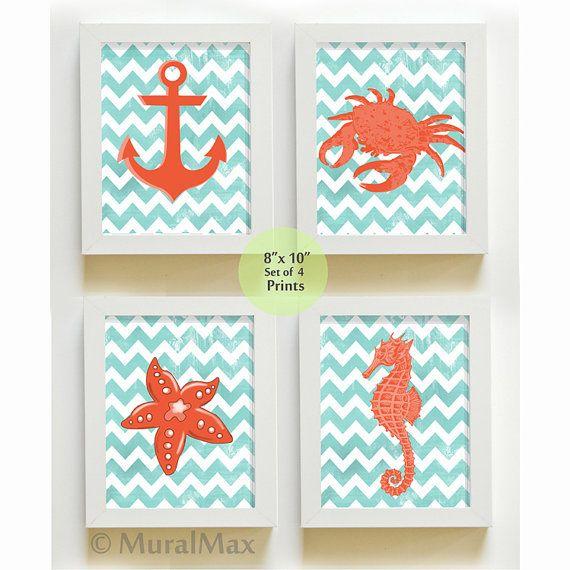Beach Nautical Nursery Art Print Set, Ocean Theme Prints,  Boys Room Decor ,Set of 4 8 x10 Wall Art , Anchor, Crab ,Starfish , Seahorse on Etsy, $48.00