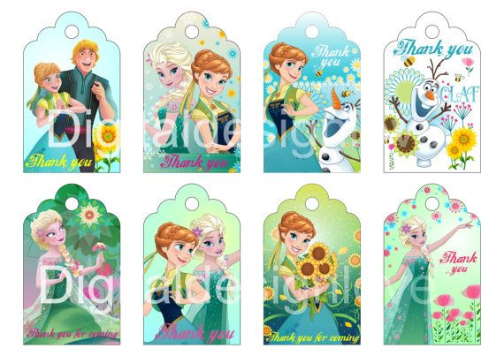 Frozen Fever Inspired Tags Elsa Anna Tags Frozen Fever Party