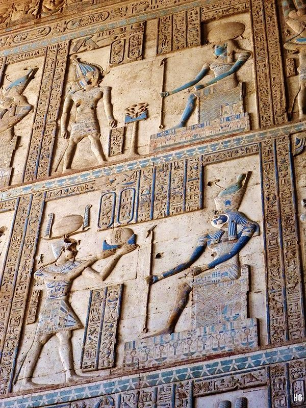Wall Relief. The Temple of Hathor at Dendarah. Egypt.