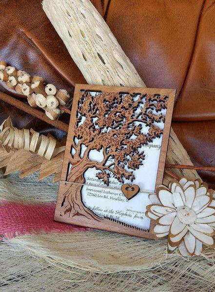 Einladung Hochzeit, Hochzeitseinladung, Holz Karte