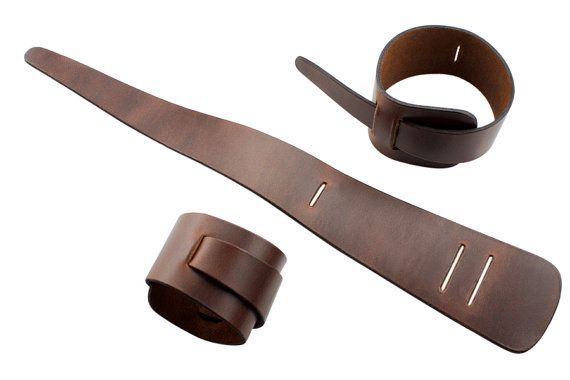 Brown loop leather cuff bracelet handmade double by bkkjewelrycom