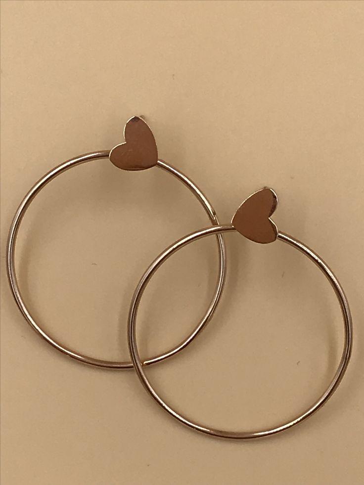 Circle of love earrings, rose gold, 30mm hoop
