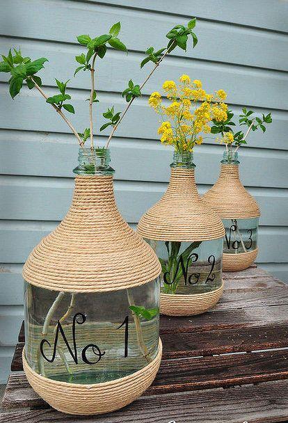 wine jugs and jute, crafts, repurposing upcycling