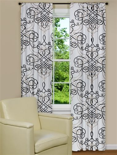 Black and white curtain panel with scroll design kitchen for Window scroll function