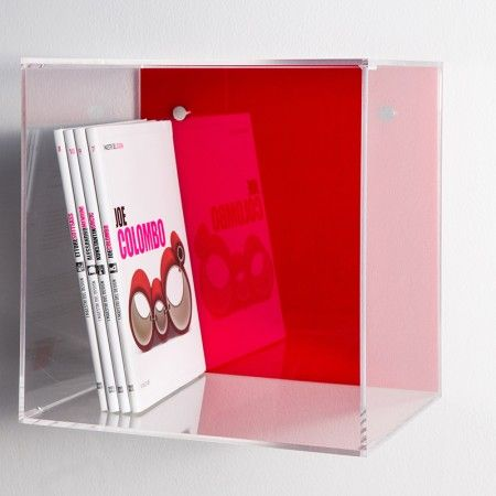 Idea for Custom Acrylic Displays:  Acrylic wall cube shelves with clear sides and colored acrylic back panel