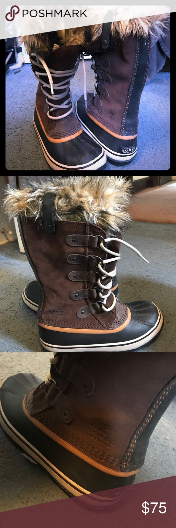 Sorel winter boots Practically new sorel Joan of arctic waterproof winter boots. One button is broken on the top of the boot. I posted a picture Sorel Shoes Winter & Rain Boots