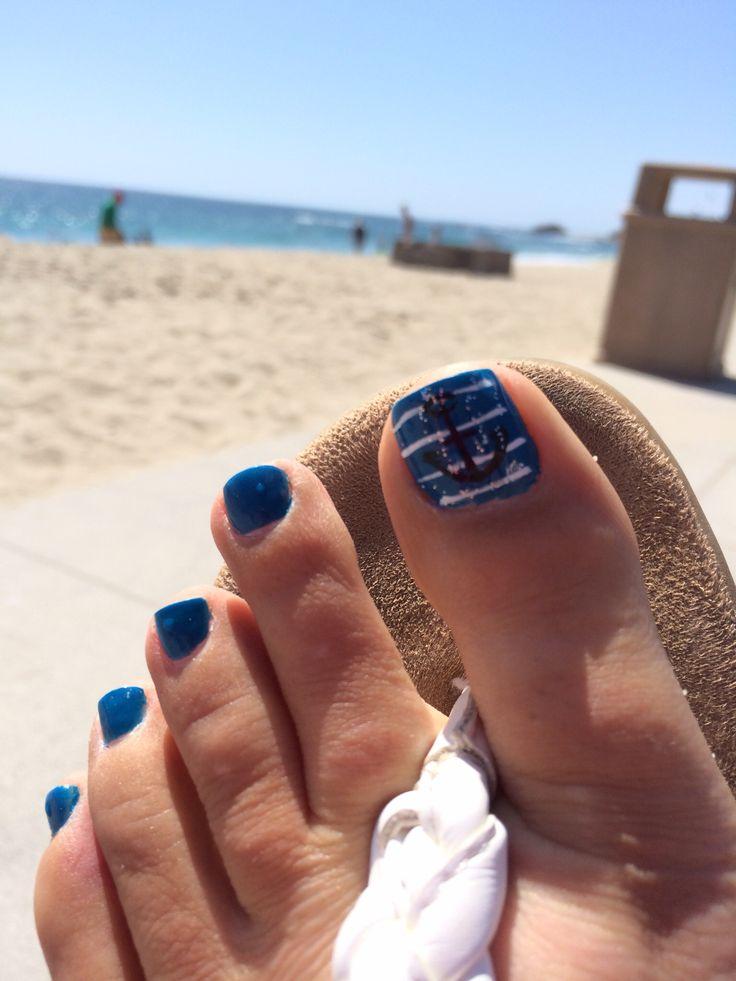Summer beach nails. Nautical toenails. Beach summer stripes toe nails toenails blue unique cool fun anchor nautical