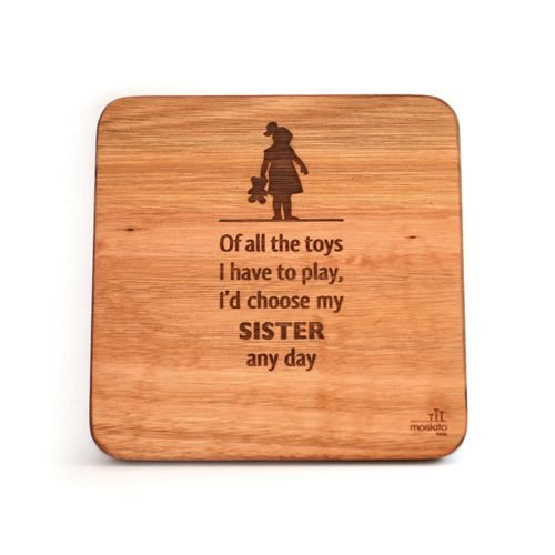 """""""Of all the toys I have to play, I'd choose my sister any day."""" A lovely poem for a sibling's room. This wall art is bound to make the sister in your little one's life feel very special."""
