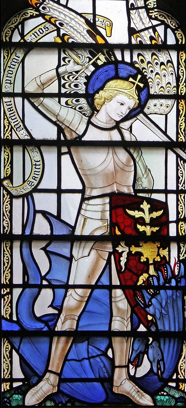 St Michael (detail), the Stanton chantry in St Alban's, Holborn, by Lawrence OP.