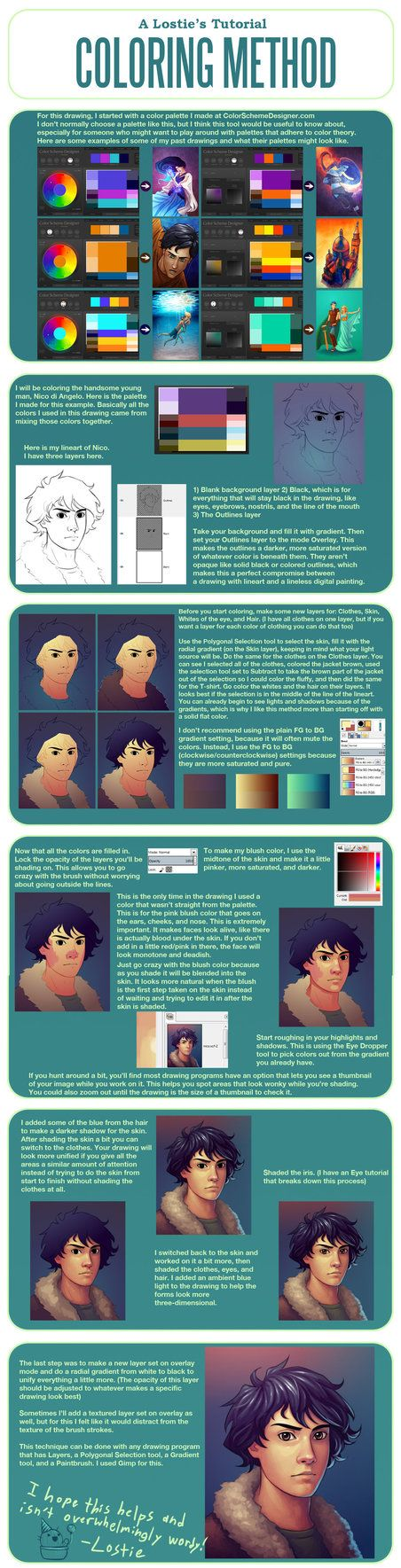 A Lostie's Tutorial - Coloring Method by lostie815 from DA  http://lostie815.deviantart.com/art/A-Lostie-s-Tutorial-Coloring-Method-392198183