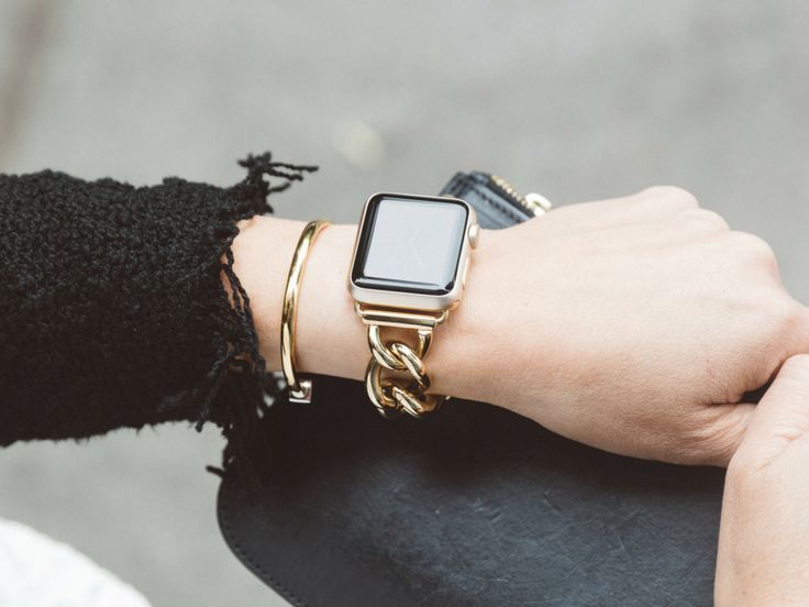 "Back in stock, while supplies last! Dress up your Apple Watch with this gorgeous, high quality chain band from Bezels & Bytes! It's great for the office, parties, or just any day that you want to look polished. Stay connected in style. Made of high quality stainless steel chain, this band features removable links to fit any wrist size 5.0″ or greater. Nickel-free. Available in bands for 38mm and 42mm Apple Watch. Fits all Apple Watch models, including Apple Watch Series 1, Apple Watch Series 2, and Apple Watch Series 3. For Series 3 customers, the ""gold"" Apple Watch Series 3 has a pink tint and will match better with our ""rose gold"" bands. – Designed by Bezels & Bytes – High quality materials: Genuine leather, stainless steel, nickel-free – Ships with 4 links for max size of 7.5″. For additional links (one link adds 0.5″), please email us at customercare@bezelsandbytes.com – Fits 38mm or 42mm Apple Watch Series 1, Apple Watch Series 2 & Apple Watch Series 3. – Please note that styles do not include the Apple Watch – See how to customize the size of your chainlink band hereBezels & Bytes"