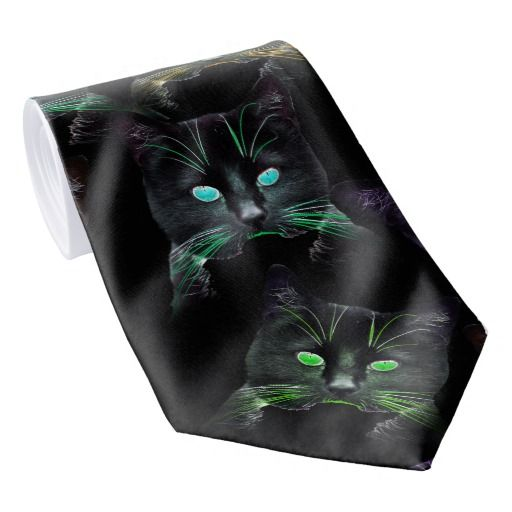 Cool Cats on Black! Multi-colored Cats Tie.  #cats #ties #black #lyndseyart #mensfashion #style