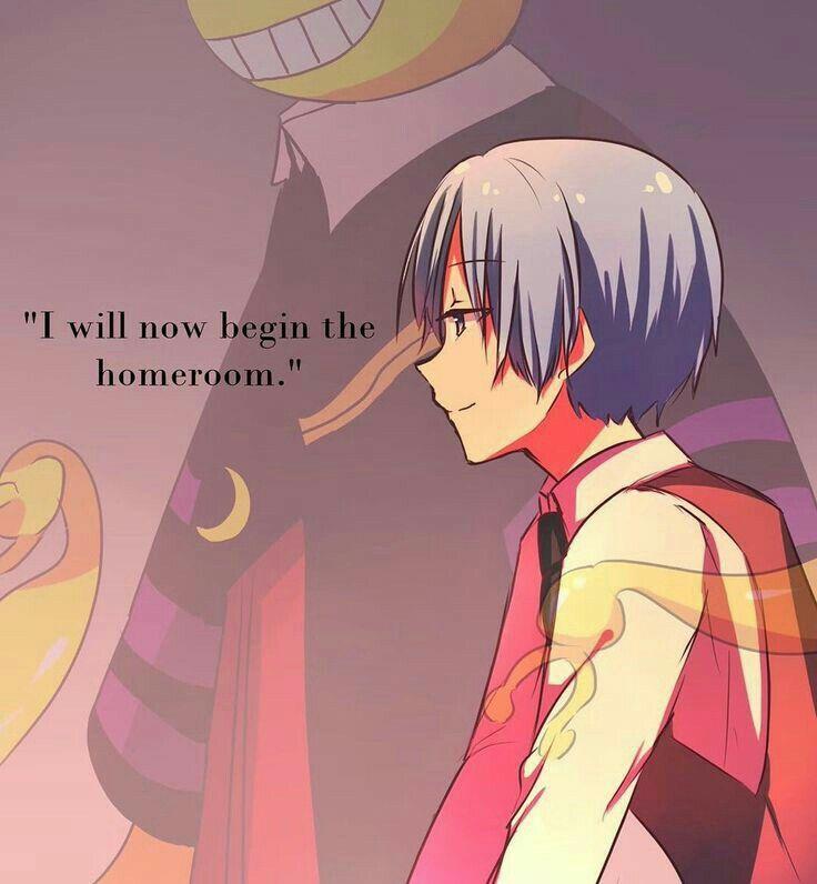 I will now begin the homeroom, text, quote, Shiota Nagisa, Korosensei, spirit, ghost, timeskip, older; Assassination Classroom