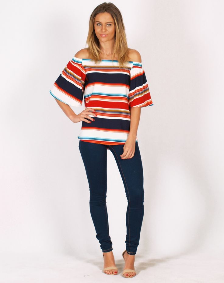 Wear this gorgeous print top off the shoulder for a revealing look or around neck for a more conservative take. You will love this top for wearing on the weekend!   Features:  - Cream , Navy and Orange Stripe  - Off the Shoulder Elasticated Top - Placket Front