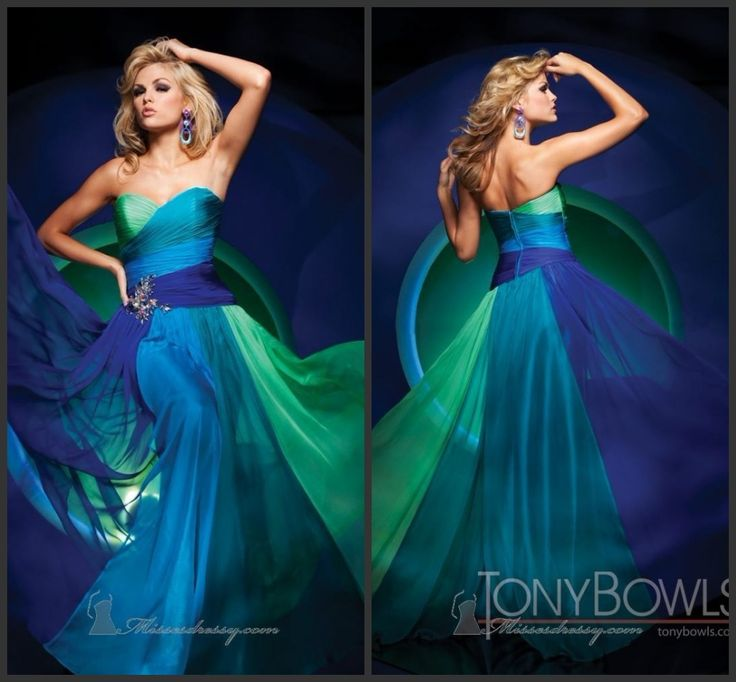 Multi Colors Bridesmaid Evening Dress Green Blue Chiffon