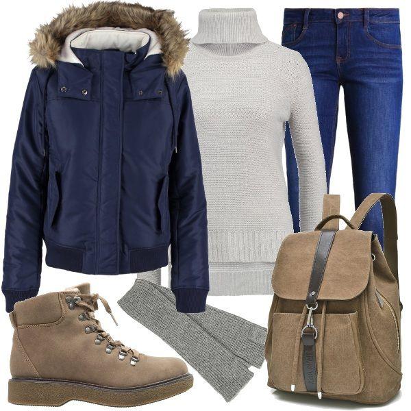 Un look pensato per le studentesse che amano le linee semplici ed i colori tenui. La calda giacca invernale ha il cappuccio bordato con pelliccia ecologica, tasche con patta e chiusura con cerniera nascosta. Il maglione a collo alto con gli spacchetti laterali sta bene sui jeans slim fit color indigo. Gli stivaletti stringati con suola in gomma hanno l'interno imbottito. Lo zainetto è in tela. Guanti a mezze dita in misto lana.