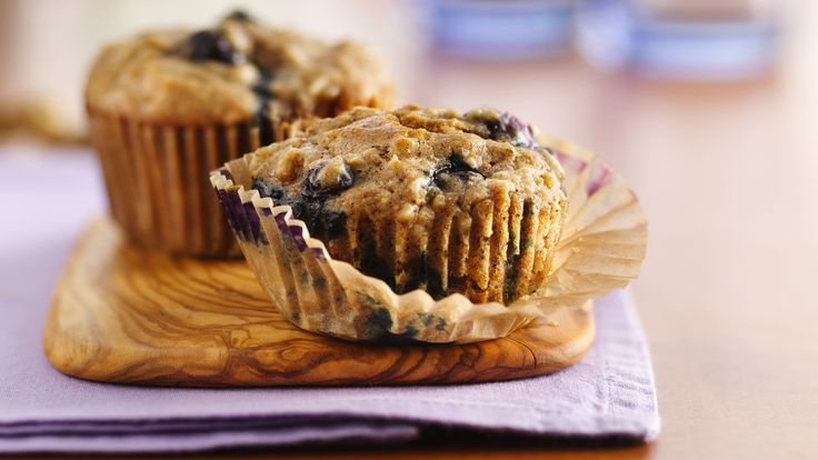 Oatmeal-Whole Wheat Blueberry Muffins recipe and reviews - Whether you need breakfast on-the-go or have time for a relaxing weekend brunch, these hearty muffins hit the spot.