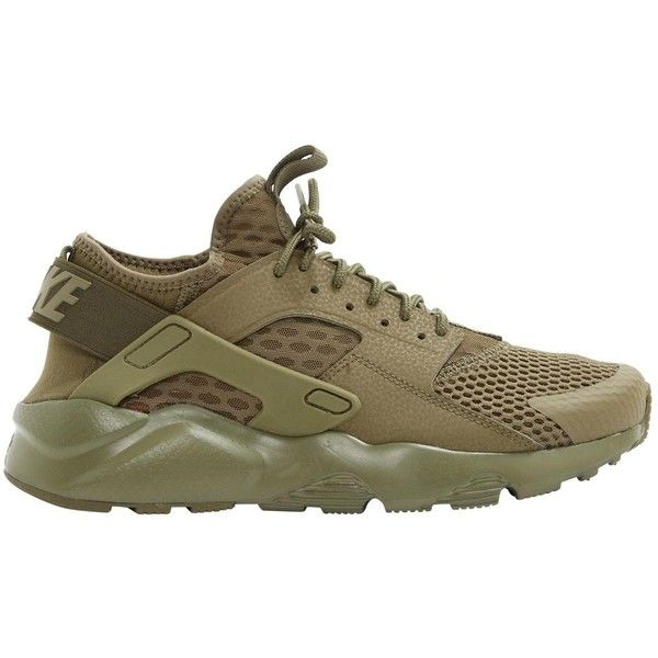 Pre-owned Nike Huarache Cloth Trainers ($101) ❤ liked on Polyvore featuring shoes, sneakers, khaki, women shoes trainers, khaki shoes, round toe sneakers, pre owned shoes, nike trainers and khaki sneakers