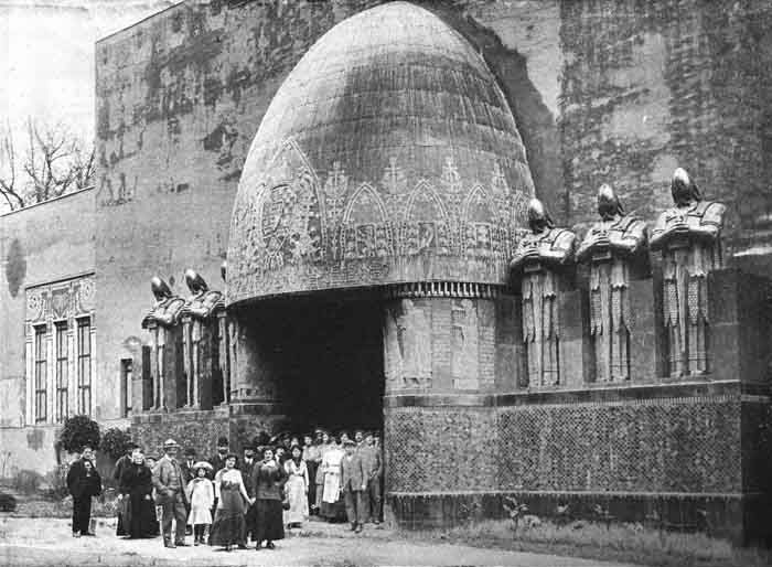 This photo was taken during construction of the Hungarian Pavilion at the World's Fair in Turino, Italy in 1911. The entrance and building were designed by Hungarian architect Moric Pogany whose unique design reflected the nation's vision of its colorful history. The building was a sensation at the fair and won first prize among all national pavilions.