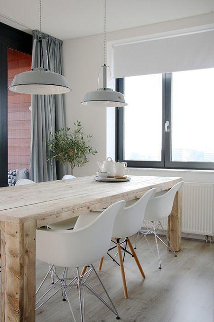 inspiration salle manger contemporaine ici un parquet clair pour plus de luminosit - Salle A Manger Parquet Bois