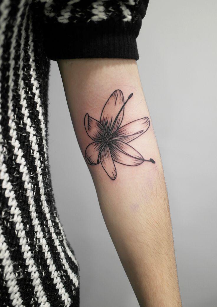 tatouage par Sophie Hedon, #fleur asphodele, #gravure, #tattoo, #floral, #fleur intestinale, https://www.facebook.com/fleurintestinale