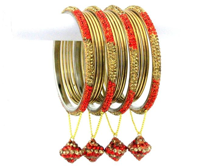 16 Pieces Indian Jewellery Orange Gold Crystal Metal Bangles Jhumke Bracelets  #mycrystalbanglesdotcom #Bangle