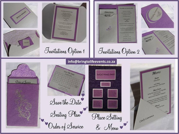 Purple and silver wedding stationery using heat embossing. Invitations, order of service, save the date, seating plan, menu & place setting :)
