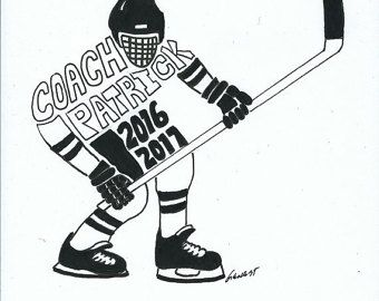 Personalized Sport Figure  Hockey II Coach   Name/Date