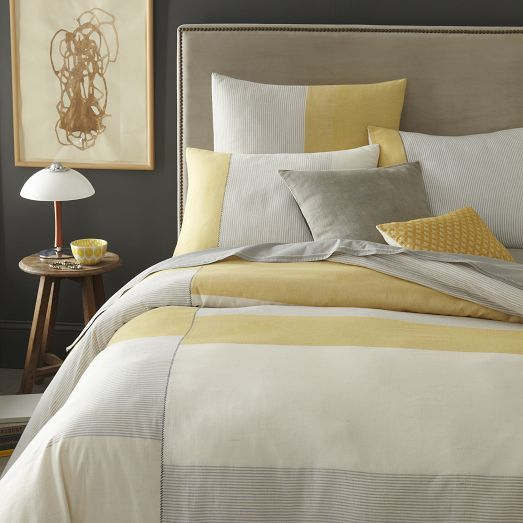 Gray Yellow Colorblocked Bedding Inspired By Classic