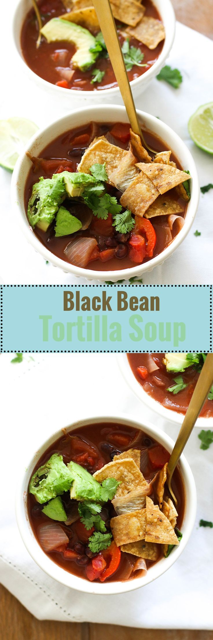 This black bean tortilla soup is vegan, gluten free, and filled with protein! It's ready in under an hour and pairs well with homemade tortilla chips, making it the perfect quick meal. #dinner #lunch #mealprep