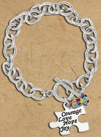 Courage Love Hope Joy Autism Awareness Bracelet at The Animal Rescue Site $12.95